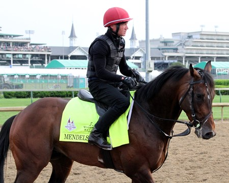 Mendelssohn on the track at Churchill Downs under the twin spires on May 3, 2018