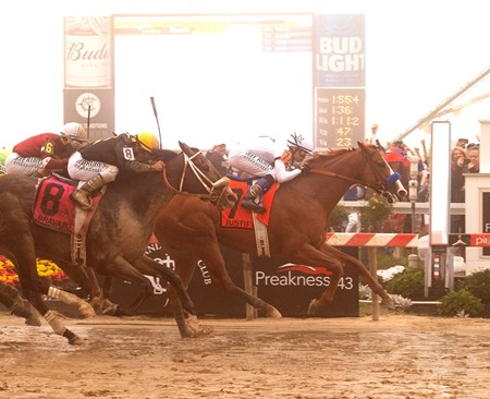 Justify wins the Preakness Stakes at Pimlico on May 19, 2018
