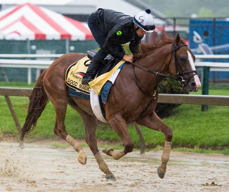 Good Magic trains at Pimlico in preparation for the Preakness on Thursday May 17th, 2018