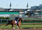 Kentucky Oaks favorite Monomoy Girl gallops April 28 at Churchill Downs