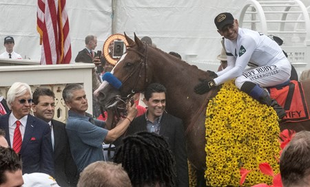 Jockey Mike Smith aboard Justify after winning the 143rd running of the Preakness Stakes May 19, 2018 in Baltimore, MD