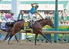 American Pharoah leads the way to victory in the Kentucky Derby.