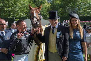 Bjorn Nielsen (second from right) with Stradivarius after the Gold Cup at Royal Ascot