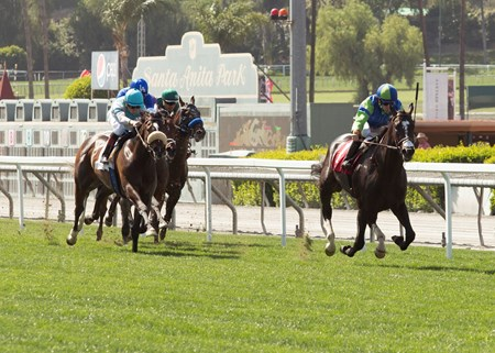 Take the One O One and jockey Joseph Talamo, right, take off for the wire to win the $200,000 Snow Chief Stakes Saturday, June 2, 2018 at Santa Anita Park, Arcadia, CA.