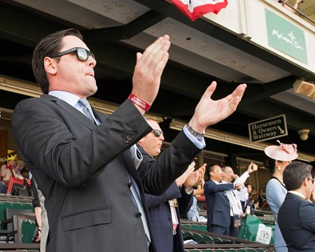 Mick Flanagan cheering on Abel Tasman. Abel Tasman with Mike Smith wins Ogden Phipps (G1)