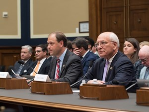 Reps. Andy Barr (left) and Paul Tonko deliver opening statements at Friday's Congressional subcomittee hearing in Washington