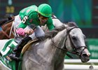Disco Partner wins the Jaipur Stakes at Belmont Park for a second straight year