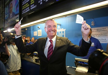 New Jersey Gov. Phil Murphy places the state's first two sports wagers June 14 at Monmouth Park