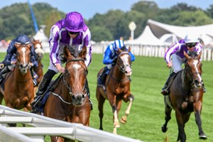 Kew Gardens (inside) edges his stablemates for victory in the Queen's Vase at Royal Ascot