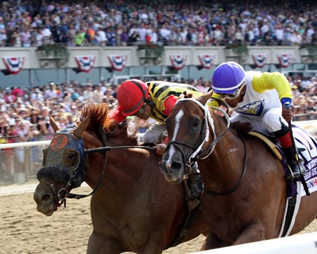 Bee Jersey (#10) with Ricardo Santana Jr. #1win the 125th Running of the Met Mile (GI) at Belmont Park on June 9, 2018 over Mind Your Biscuits (#1) with Joel Rosario.