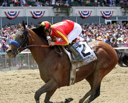 Hoppertunity with Flavien Prat win the 130th Running of the Brooklyn Invitational (GII) at Belmont Park on June 9, 2018