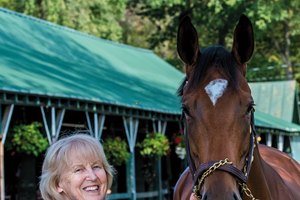 Patricia Moseley with Proctor's Ledge at the Saratoga Race Course September 11, 2017 in Saratoga Springs, N.Y.