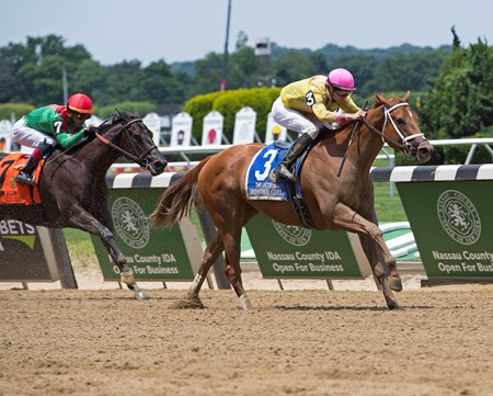 Monomoy Girl with Florent Geroux wins the Acorn (G1) Morning scenes on  June 9, 2018 at Belmont Park in Elmont, New York.