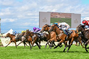Signora Cabello (No. 19) wins the Queen Mary Stakes at Royal Ascot