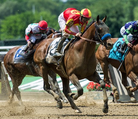 Hoppertunity, with Flavien Prat up, win the Brooklyn Invitiational on Belmont Stakes Day