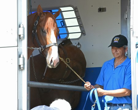 Justify with Eduardo Luna leaves for California via Brook Ledge and H. E. Tex Sutton June 17, 2018 Churchill in Louisville, Kentucky.