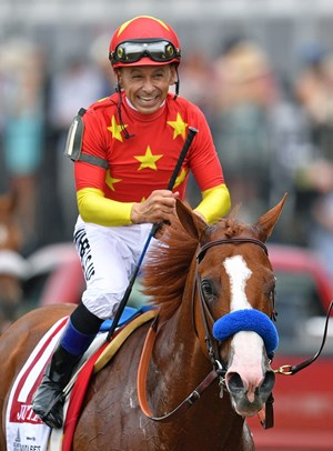 Jockey Mike Smith aboard Justify