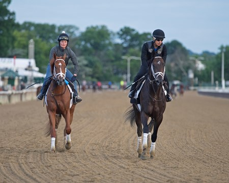 l-r, Vino Rosso and Noble Indy Morning training on June 6, 2018 at Belmont Park in Elmont, New York.