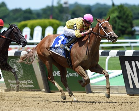 Monomoy Girl wins 2018 Acorn Stakes at Belmont Park June 9, 2018.