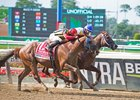 Bee Jersey (inside) just noses Mind Your Biscuits at the wire in the Metropolitan Handicap at Belmont Park