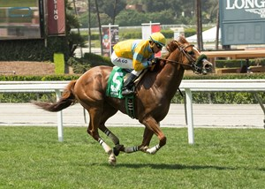 Faversham is all alone at the wire June 21 at Santa Anita Park