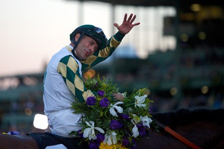 Gary Stevens celebrated winning the Breeders' Cup Classic (G1) atop Mucho Macho Man