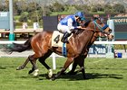Eddie Haskell (outside) just gets by Stormy Liberal to win an allowance race at Santa Anita