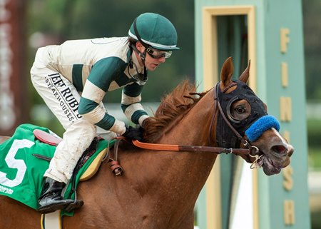 Mucho Gusto wins the Robert B. Lewis Stakes at Santa Anita Park