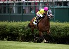 World of Trouble scores in the Twin Spires Turf Sprint at Churchill Downs