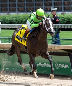 Break Even with jockey Shaun Bridgmohan in the saddle wins the 64th running of the Eight Belles at Churchill Downs May 3, 2019 in Louisville, KY