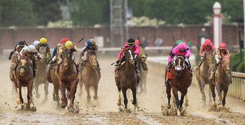 31b1276bc Country House (yellow cap) wins the Kentucky Derby by disqualification