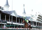 Honey Bunny gallops to victory beneath the Twin Spires in the Winning Colors Stakes at Churchill Downs