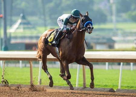 Mucho Gusto wins the Affirmed Stakes at Santa Anita Park