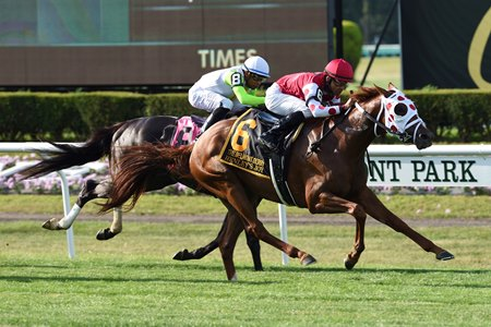 Henley's Joy wins the Belmont Derby Invitational Stakes at Belmont Park