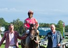 Albany Stakes winner Funny Guy is led by Randy Hill (left) and Matt Gatsas at Saratoga Race Course