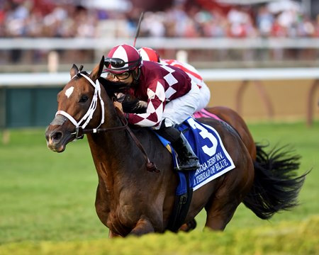 A Thread of Blue Goes All the Way in Saratoga Derby - BloodHorse