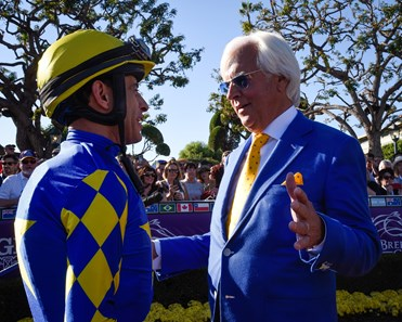 John Velazquez and Bob Baffert attend the Breeders' Cup TVG Juvenile  (G1) on Nov. 1, 2019 Santa Anita in Arcadia, Ca.