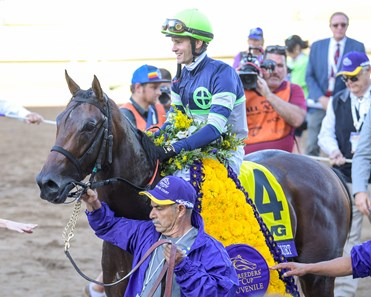 Storm the Court and Flavien Prat win the TVG Breeders' Cup Juvenile (G1) on Nov. 1, 2019, Santa Anita in Arcadia, Calif.