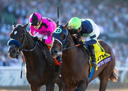 Storm the Court (right) wins the 2019 Breeders' Cup Juvenile with Anneau d'Or second