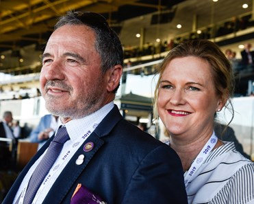 Gavin Murphy and Catharine Donovan attend the Breeders' Cup TVG Juvenile  (G1) on Nov. 1, 2019 Santa Anita in Arcadia, Ca.