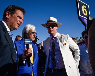 Bob Baffert and Tom Ryan of SF Racing are interviewed at the Breeders' Cup TVG Juvenile  (G1) on Nov. 1, 2019 Santa Anita in Arcadia, Ca.