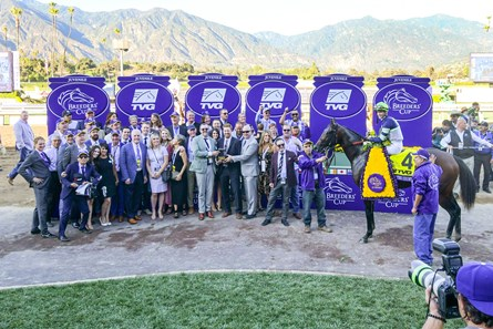 Storm the Court and Flavien Prat win the Breeders' Cup TVG Juvenile (G1) on Nov. 7, 2017 Santa Anita in Arcadia, Ca.