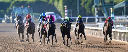 Storm The Court (center) holds off Anneau d'Or, to win the Breeders' Cup Juvenile...