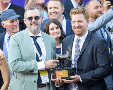 Storm the Court and Flavien Prat win the Breeders' Cup TVG Juvenile (G1) on Nov. 1, 2019 Santa Anita in Arcadia, Ca.