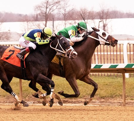 Honor the Fleet (inside) wins the Fire Plug Stakes at Laurel Park