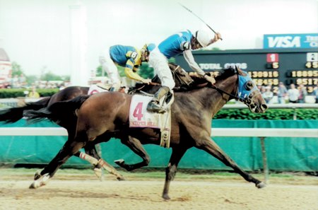 Keeper Hill wins the 1998 Kentucky Oaks at Churchill Downs