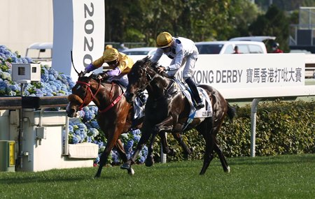 Golden Sixty (outside) gets up to win the Hong Kong Derby at Sha Tin