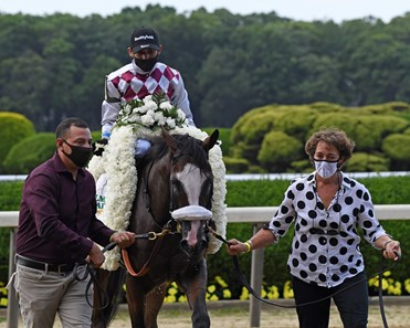 Tiz the Law with jockey Manny Franco showed his dominance going on to the win in the 152nd running of the Belmont Stakes at Belmont Park on Belmont Stakes Day June 20, 2020 Juan Barajas Saldana, Tagg Barn Foreman, and Robin Smullen lead Tiz the Law into the winner's circle