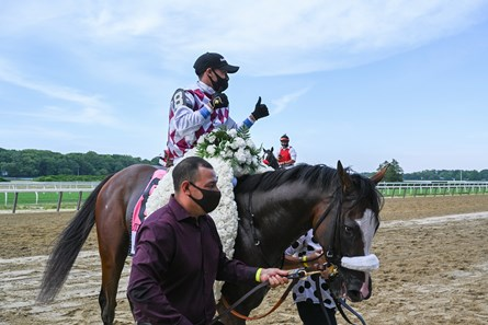 Tiz the Law with jockey Manny Franco showed his dominance going on to the win in the 152nd running of the Belmont Stakes at Belmont Park on Belmont Stakes Day June 20, 2020. Left: Juan Barajas Saldana, Tagg Barn Foreman
