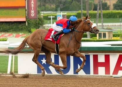 Peter J. Callahan's Swiss Skydiver and jockey Mike Smith win the G2 $200,000 Santa Anita Oaks